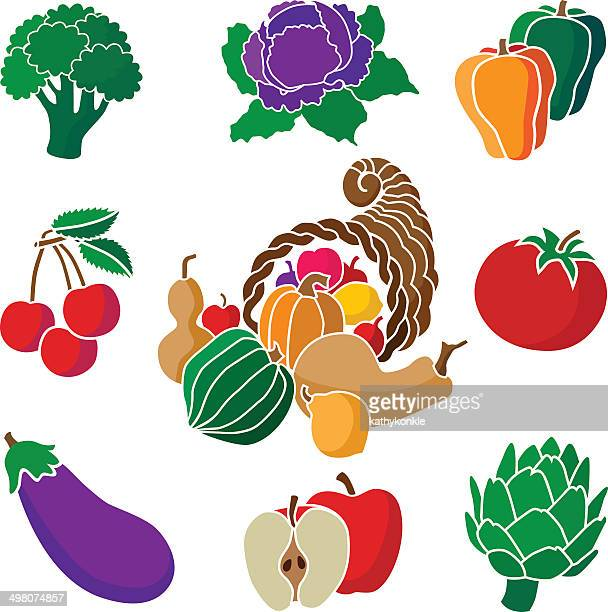 cornucopia with fruits and vegetables