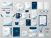 Corporate Branding identity template design. Modern Stationery mockup blue color. Business style stationery and documentation for your brand. Vector illustration EPS 10