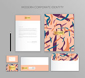 Corporate identity business set. Modern stationery template design. Documentation for business.Set of envelope, card, folder, etc. Vector illustration.Abstract background