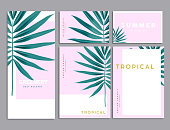 Pink and Green Tropical palm Leaves corporate identity template design. Business stationery. Vector Illustration.