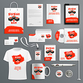 Sushi Japanese restaurant corporate identity templates of supplies for copmany branding. Vector isolated set of t-shirt apparel, business card, stationery and promo flag, mug and blank or paper bag