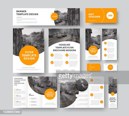Corporate style with round and semicircular orange design elements and stroke, with a place for photos. : stock vector