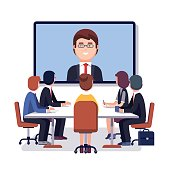 Corporation directors board at the conference call meeting with CEO at the video call projection screen. Modern colorful flat style vector illustration isolated on white background.