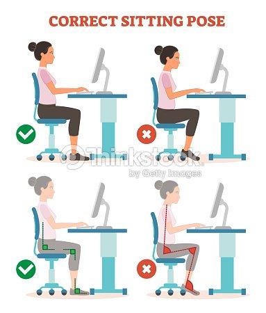 Richtiges Sitzen Pose Im Arbeitsplatz Gesundheitswesen Informative