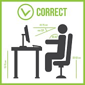 Correct sitting posture. Correct position of persons eps 10