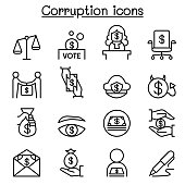Corruption & Dishonesty icon set in thin line style