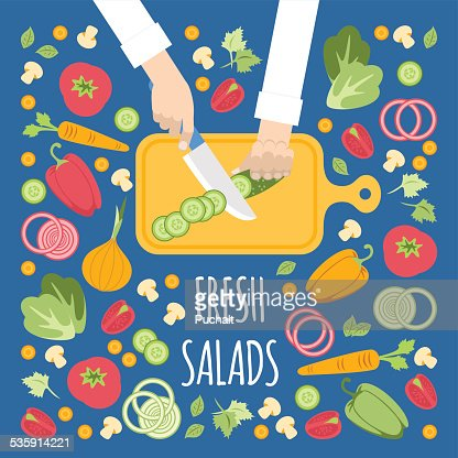 Cortando verduras para la ensalada : Arte vectorial