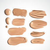 Cosmetic concealer smear strokes isolated on white background, tone cream smudged Vector.