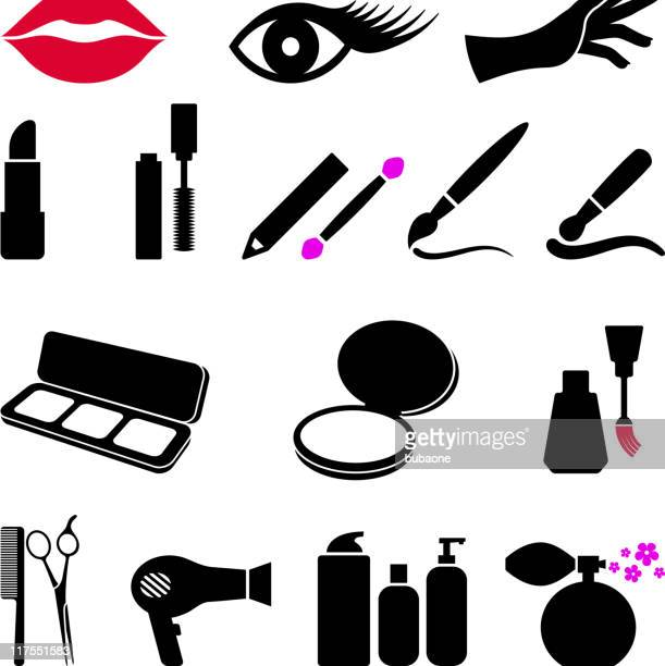 cosmetics and makeup black & white vector icon set