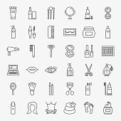 Cosmetics Line Icons Set. Vector Thin Outline Beauty Symbols.