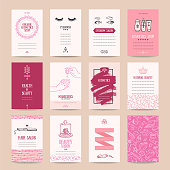 Cosmetics shop business card, beauty parlor invitation, nail salon flyer, spa procedures poster, make-up banner. Artistic vector templates set with thin line symbols and hand drawn design elements. Is