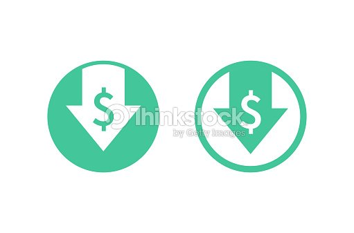 Cost reduction icon. Image isolated on white background. Vector illustration. : stock vector
