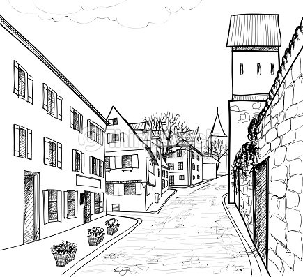 Cosy Street Houses In Perspective Hand Drawing Landscape ...