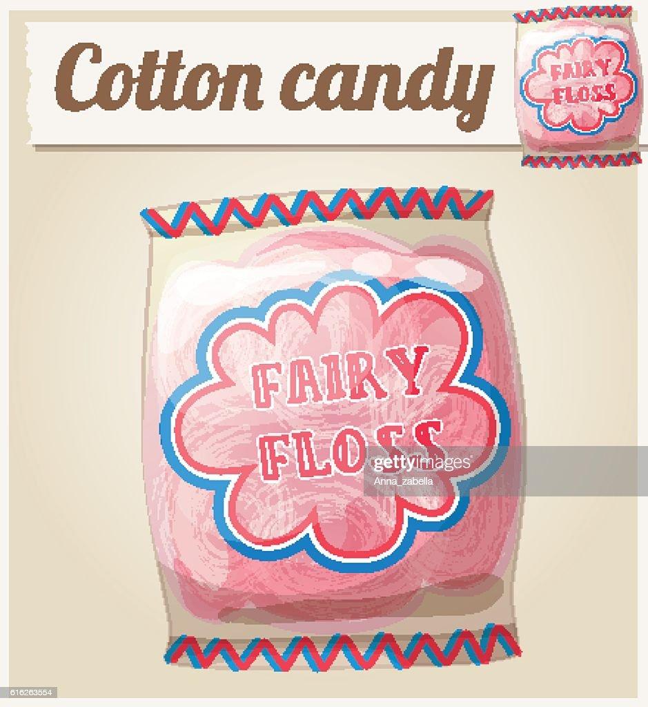 Cotton candy (Fairy floss) in a bag. Cartoon vector icon : Vector Art