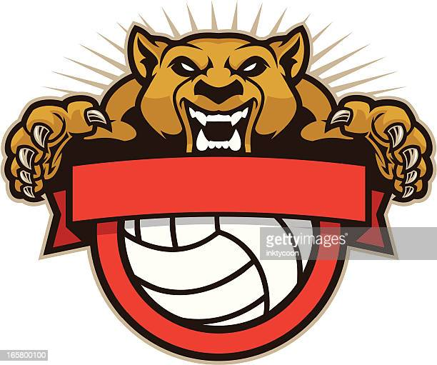 Cougar Mascot Volleyball