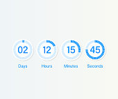 Vector countdown clock counter timer. UI app digital count down circle board meter with circle time pie diagram. Scoreboard of day, hour, minutes and seconds for web page coming soon event template