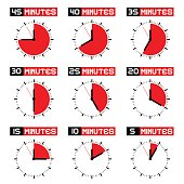 Countdown Stopwatch Set - Vector Analogue Clock Icons