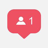 Counter,friend request quantity follower notification symbol instagram. Buton for social media .