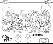 Black and White Cartoon Illustration of Educational Counting Game for Children with Cats and Dogs Animal Characters Group in the Park Coloring Book