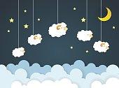 Counting sheep. Cartoon character happy jumping sheep. Sweet dreams.paper art