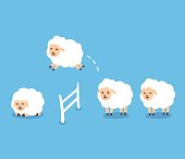 Counting sheep to fall asleep vector illustration. Cute cartoon sheep jumping over fence.