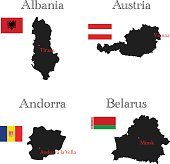 Countries of Europe with borders, flags and capitals, Albania, Andorra, Austria, Belarus