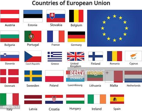 L nder der europ ischen union flaggen vektorgrafik getty for Europeanhome com