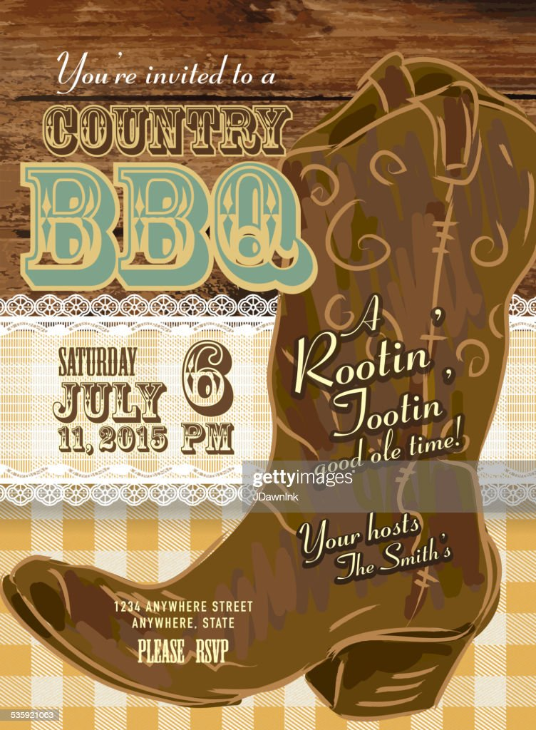 Country and western BBQ with cowboy boot invitation design template : Vector Art