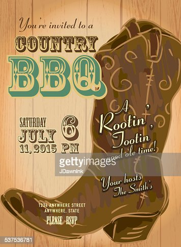 Country And Western Bbq With Cowboy Boot Invitation Design