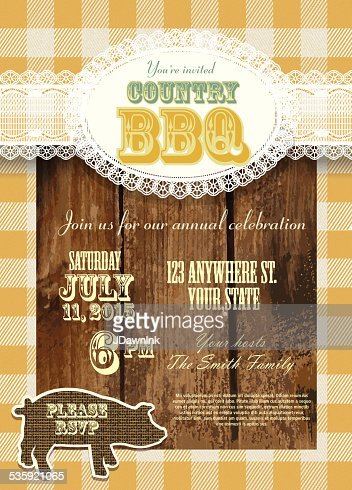 Country and western BBQ with pig invitation design template : Vector Art
