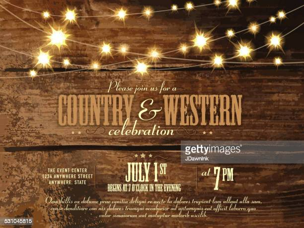 Country and western invitation design template with string lights