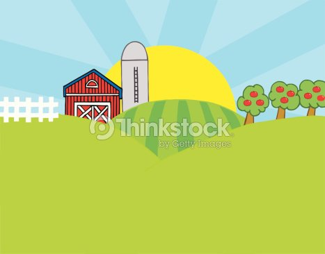 Country Farm With Background Vector Art