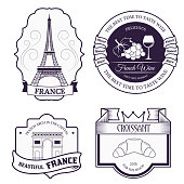 Country France set label template of emblem element for your product, logo or design, web and mobile applications with text. Vector illustration with thin lines isolated icons on stamp symbol.