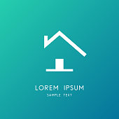 Country home symbol - small cosy house with front door and chimney on the roof. Realty and real estate vector icon.