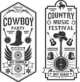 Country music festival flyer.  Cowboy party. Western music festival. Vector illustration