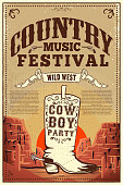 Country music festival poster. Party flyer with cowboy boots. Design element for poster, card, label, sign, card, banner. Vector image