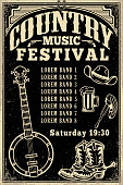 Country music festival poster template. Cowboy hat, cowboy boots, banjo. Vector illustration