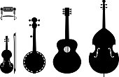 Vector Illustration Of Musical Instruments Silhouettes Of A Regular, Traditional Country Music Band.