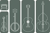 Line Drawing Vector Illustration of Music Instruments of a regular Country Music Band.