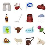 Country Scotland cartoon icons in set collection for design. Sightseeing, culture and tradition vector symbol stock  illustration.