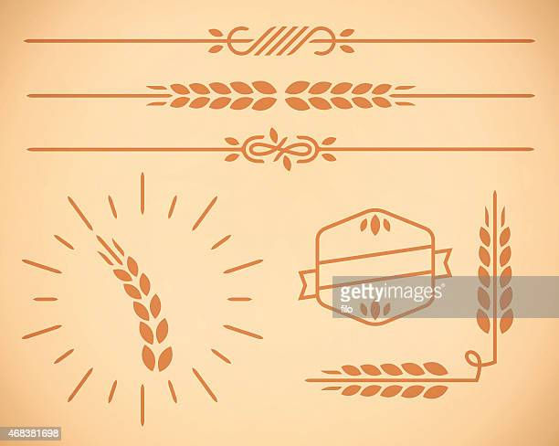Country Wheat Natural Border and Design Elements
