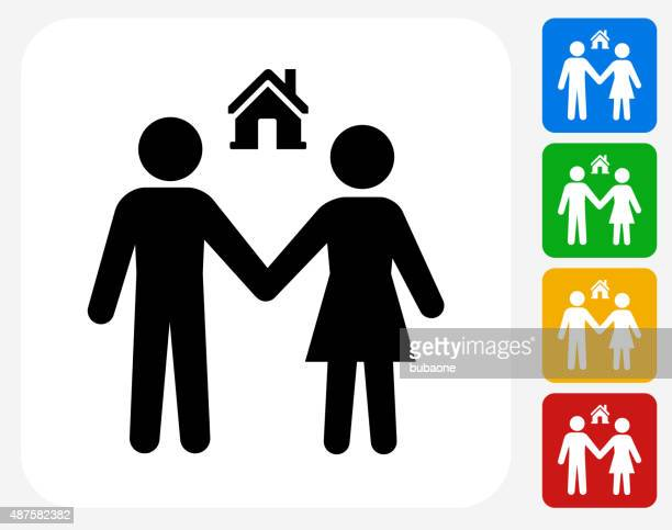 Couple and New Home Icon Flat Graphic Design
