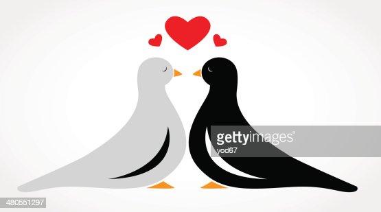 Pareja de aves Enamoramiento : Arte vectorial
