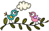 Scalable vectorial representing a couple birds on branch, illustration isolated on white background.
