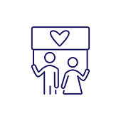 Couple holding love banner line icon. Marriage, traditional family, Valentine day. LGBT concept. Vector illustration can be used for topics like relationships, family, holiday