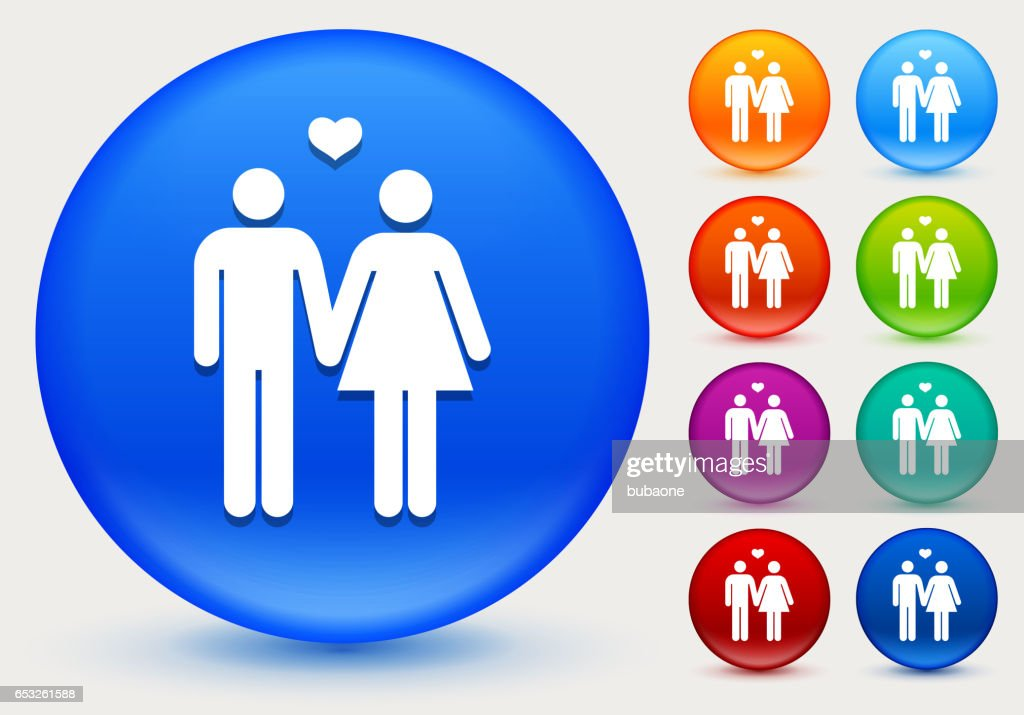 Couple Icon on Shiny Color Circle Buttons : Clipart vectoriel