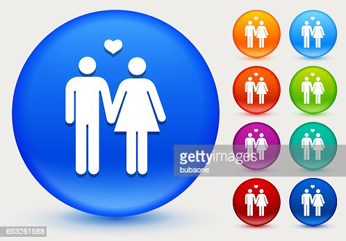 Couple Icon on Shiny Color Circle Buttons : Vector Art