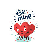 Couple in love concept, two cute hearts hugging. Hand Drawn Lettering 'Be mine'. Valentine's Day Vector Card