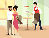Couple in Love go Restaurant  Illustration Flat. Man and Woman in Elegant Clothes are Leaving Place. Waiter Cleans Table. Guy Hugs Waist Girl. Pleasant Atmosphere Establishments has Good Mood.