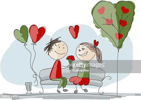 Beso Pareja en el amor, de San Valentín para su diseño boceto : Arte vectorial